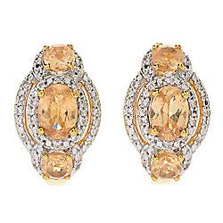Gem Treasures® 2.99ctw Ceylon Peach Garnet & White Zircon Hoop Earrings