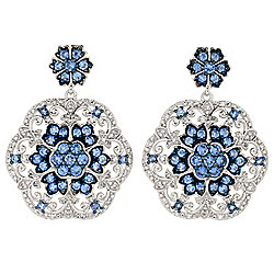 "Gem Treasures® 1.25"" 3.61ctw Ceylon Blue Sapphire & White Zircon Earrings"