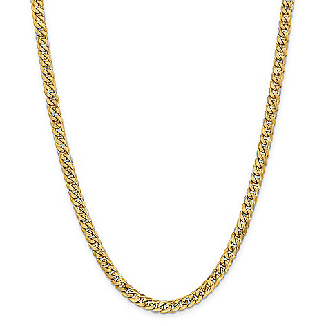 6efe6bff485dd Italian 14K Gold Choice of Size Semi-Solid Thick Miami Cuban Chain Necklace