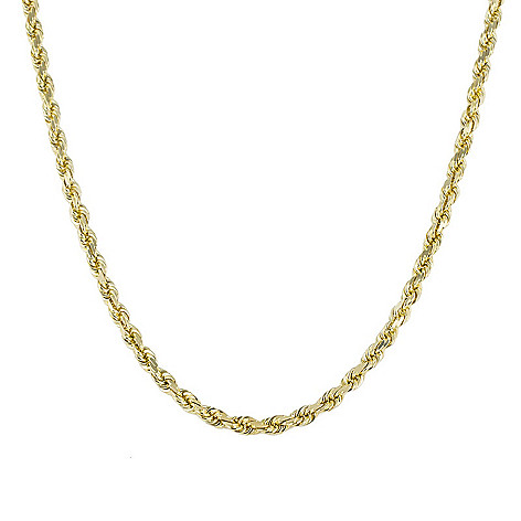 717216bb94222 Italian 14K Gold Choice of Length Semi-Solid Rope Chain Necklace
