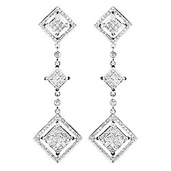 "Diamond Treasures® Elite ""Dream"" 14K White Gold 2.25"" 2.65ctw Diamond Earrings"