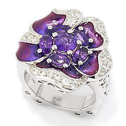 Garden Party - 177-960 Dallas Prince Sterling Silver Gemstone & White Zircon Enamel Flower Ring - 177-960
