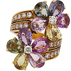 Bvlgari 18K Gold 6.80ctw Multi Sapphire & Diamond Flower Bypass Ring - Pre-Owned, Size 4.5 - 178-024