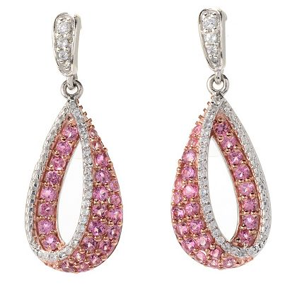 Gemstone Spotlight at ShopHQ - 178-054 Gem Treasures® 1.25 1.77ctw Pink Tourmaline & White Zircon Teardrop Earrings