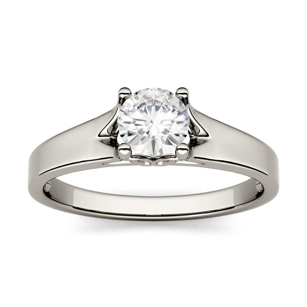 Moissanite by Charles & Colvard 14K White Gold 0 50 DEW Solitaire Ring