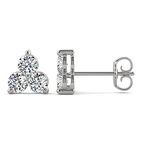 0d2a3410b Moissanite by Charles & Colvard 14K White Gold 0.96 DEW 3-Stone Stud ...