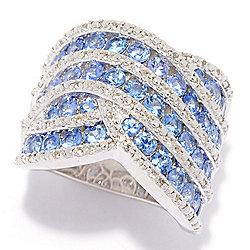 178-228 Gem Treasures® 3.01ctw Ceylon Sapphire & White Zircon Highway Band Ring - 178-228