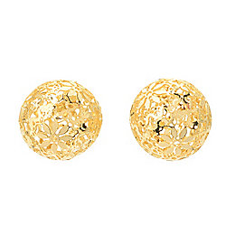 "Stefano Oro ""Fiori Ricami"" 14K Gold Round Stud Earrings, 1.3 grams"