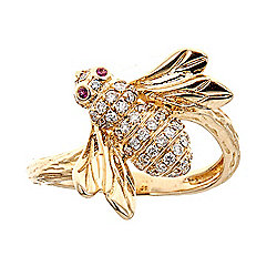 Fierra 14K Gold 0.30ct Pink Ruby & Diamond Bug Ring - Size 7 - 178-274