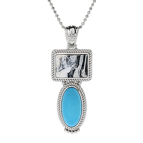 Gem Insider®, Sterling Silver, White Buffalo &, Sleeping Beauty, Turquoise  Pendant on sale at shophq com