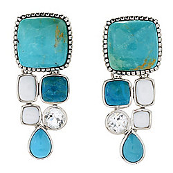 "Gem Insider® Sterling Silver 1.25"" Kingman Turquoise & Multi Gem Drop Earrings"