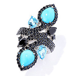 Dallas by Night - 178-591 Dallas Prince Sterling Silver Sleeping Beauty Turquoise & Multi Gem Ring - 178-591