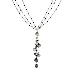 Necklaces - 178-622 Kwan Collections Sterling Silver 20 or 30 8-10mm Tahitian Cultured Pearl & Spinel Necklace - 178-622