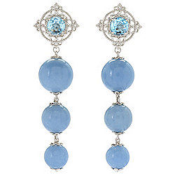 "Dallas Prince Sterling Silver 2.75"" Angelite & Sky Blue Topaz Dangle Earrings"