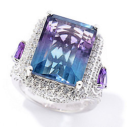 665adc78b Victoria Wieck Collection 14.24ctw Bi-Color Fluorite & Multi Gemstone Ring