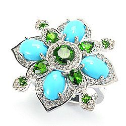 Victoria Wieck Collection Sleeping Beauty Turquoise & Chrome Diopside Ring