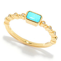 "EFFY ""Turquesa"" 14K Gold Sleeping Beauty Turquoise & Diamond Ring"