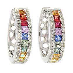 Watercolors - EFFY Watercolors 14K Gold 2.13ctw Multi Color Sapphire & Diamond Hoop Earrings - 178-673