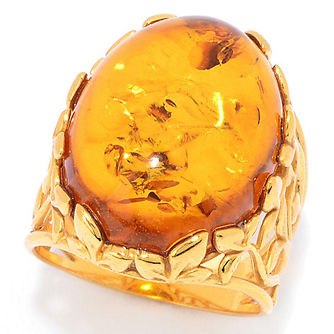 c08a3949aa32b Gemporia, 20 x 15mm Oval, Baltic Amber, Leaf Design, Cocktail Ring