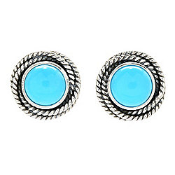 Artisan Silver by Samuel B. Choice of Size Sleeping Beauty Turquoise Earrings