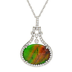 Victoria Wieck Collection 20 x 15mm Ammolite Triplet & White Zircon Pendant