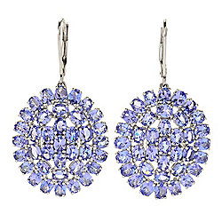"Gemporia 1.75"" 10.36ctw Oval Shaped Tanzanite Cluster Drop Earrings"