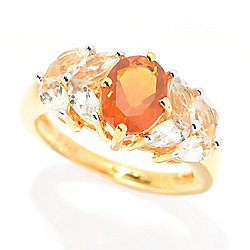 Gemporia 2.18ctw Oval American Fire Opal & White Topaz Band Ring