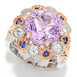 Gems en Vogue 9.36ctw Kunzite, Mabira Blue Sapphire & White Zircon Halo Ring
