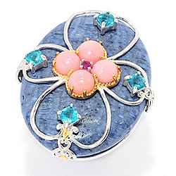 Gems en Vogue 40 x 30mm Blue Coral & Multi Gemstone Overlay Ring