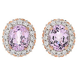 Gems en Vogue 5.18ctw Kunzite & White Zircon Halo Stud Earrings