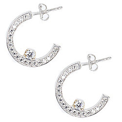 a0bc343d2 Valitutti Star Cut Sterling Silver 0.86 DEW Simulated Diamond J-Hoop  Earrings