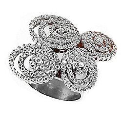48d0e44ee Valitutti Star Cut Sterling Silver 2.61 DEW Simulated Diamond Multi-Swirl  Ring