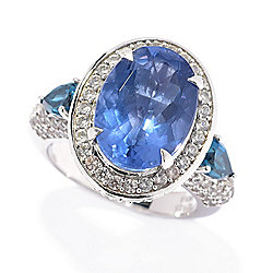 Victoria Wieck Collection 7.31ctw Color Change Fluorite & White Zircon Ring