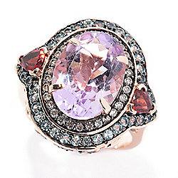 b0f27dbae Victoria Wieck Collection 5.86ctw Amethyst & Multi Gemstone Double Halo Ring