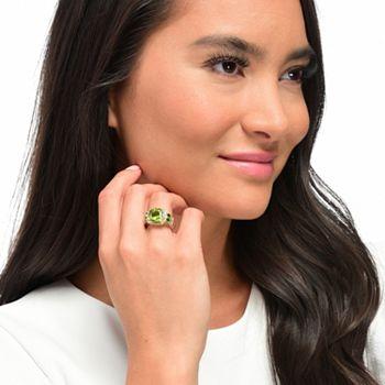 August Birthstone Shop Peridot Pieces - Gems en Vogue 4.28ctw Cushion Shaped Peridot & Chrome Diopside Ring - 179-113