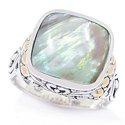 Artisan Silver by Samuel B. 18K Gold Accented 12mm Gemstone Scrollwork Ring - 179-151