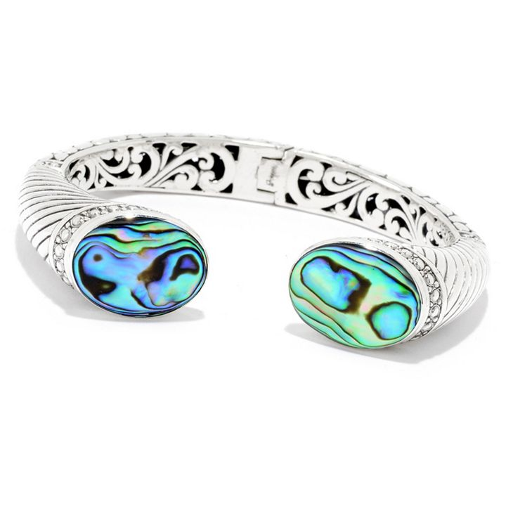 Gems of the Sea Pearl, Coral, Abalone & More - 179-153 Artisan Silver by Samuel B. 6.5 or 7.25 20 x 15mm Gemstone Cuff Bracelet
