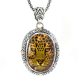 adb1f8f2c Artisan Silver by Samuel B. 18K Gold Accented Oval Carved Amber Leopard  Pendant w/