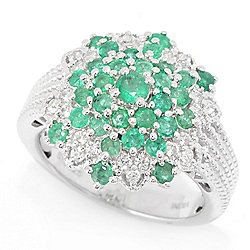Gem Treasures® 1.33ctw Brazilian Emerald & White Zircon Cluster Dome Ring