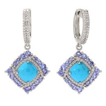 Last Call Jewelry New Clearance Markdowns  179-202 Gem Treasures® 1.25 8mm Sleeping Beauty Turquoise, Tanzanite & White Zircon Earrings - 179-202