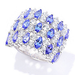 Tanzanite - Gem Treasures® 2.10ctw Tanzanite & White Zircon Wide Band Ring - 179-320