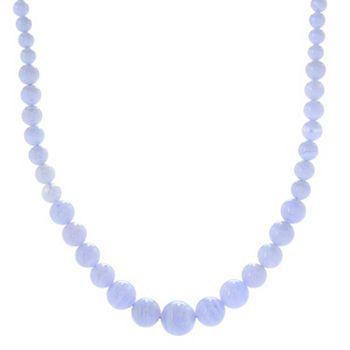 Necklaces & Pendants Priced Under $100 - 179-325 Gem Treasures® 6-14mm Blue Lace Agate Beaded Adjustable Slide Necklace - 179-325