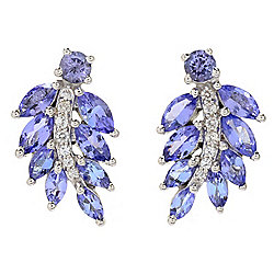 Gem Treasures® 1.70ctw Tanzanite & White Zircon Stud Earrings