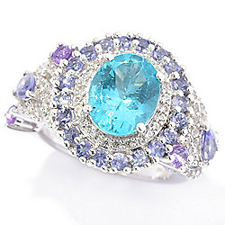 a498e359d Victoria Wieck Collection 3.32ctw Oval Apatite & Multi Gemstone Halo Ring