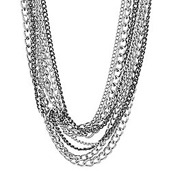 Steve Madden Two-tone 16 10-Strand Curb Chain Necklace w 4 Extender - 179-399