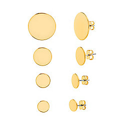 Steve Madden Set of 4 Gold-tone Circle Stud Earrings