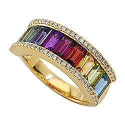 Multi Gem - EFFY Mosaic 14K Yellow Gold 3.49ctw Multi Gemstone & Diamond Rainbow Ring - Size 7 - 179-442