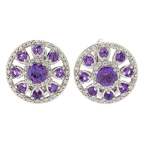 0b2fef56d 179-463- Gem Treasures® Gemstone & White Zircon Clip-on Sidecar Earrings