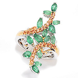 Gems en Vogue Final Cut 1.96ctw Emerald & Orange Sapphire North-South Ring