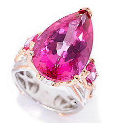 Gems en Vogue Final Cut 14.82ctw Pear & Oval Shaped Pink Topaz Cocktail Ring